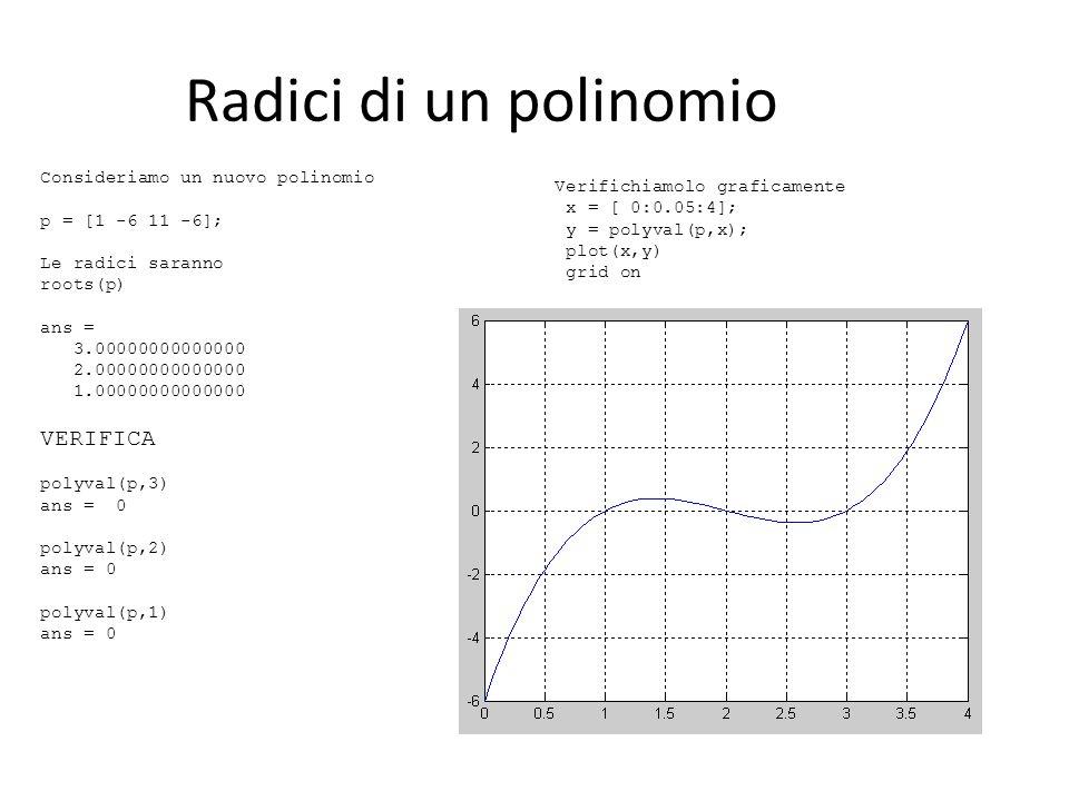 Radici di un polinomio VERIFICA Consideriamo un nuovo polinomio