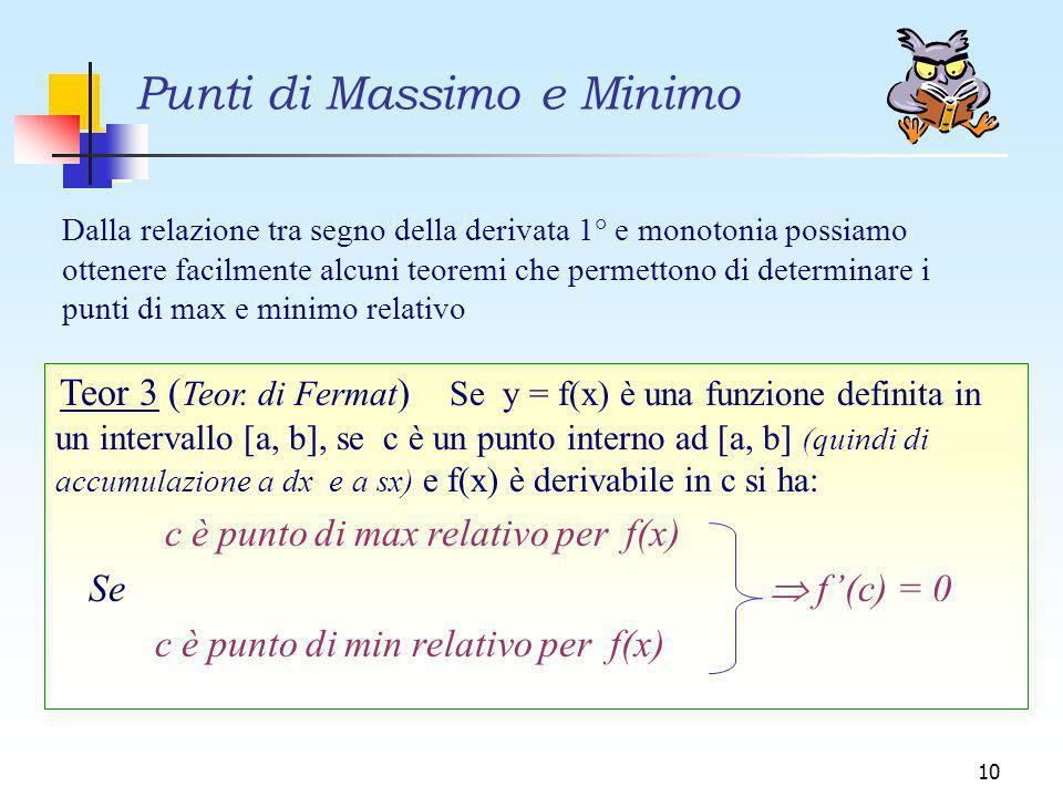 Punti di Massimo e Minimo