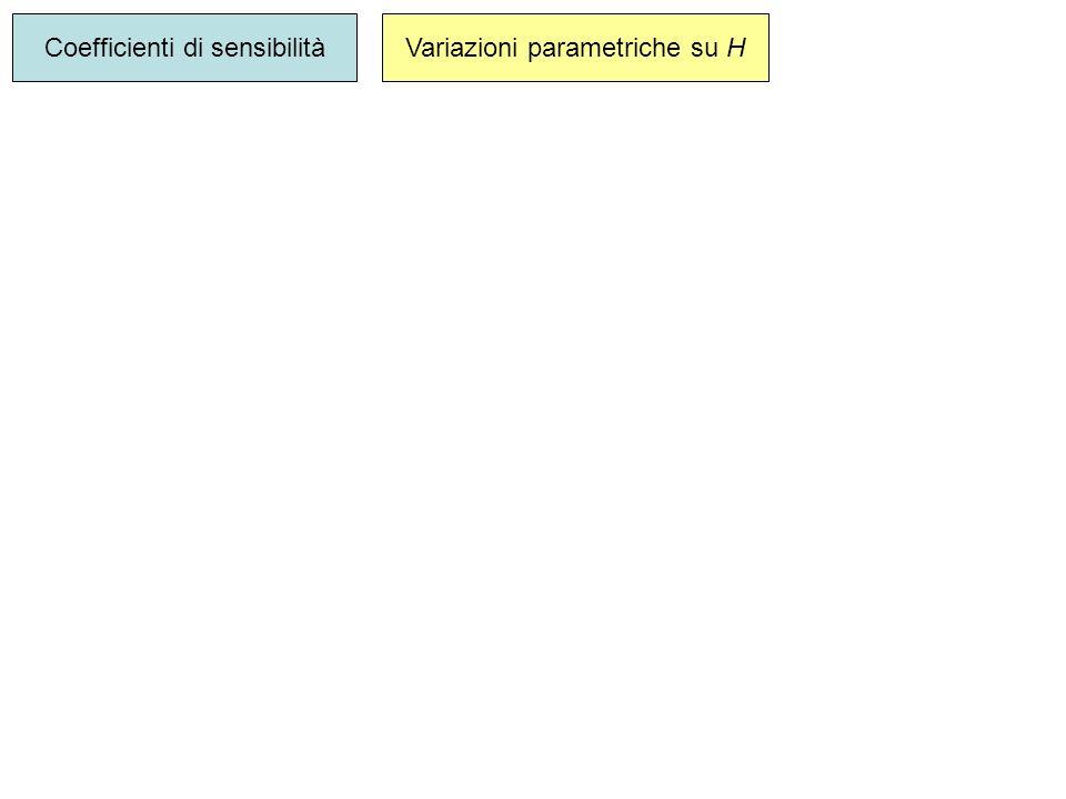 Coefficienti di sensibilità Variazioni parametriche su H