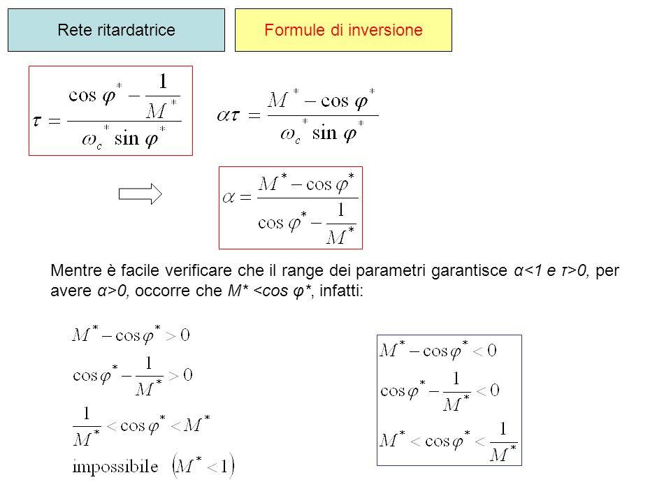 Rete ritardatrice Formule di inversione. Mentre è facile verificare che il range dei parametri garantisce α<1 e τ>0, per.