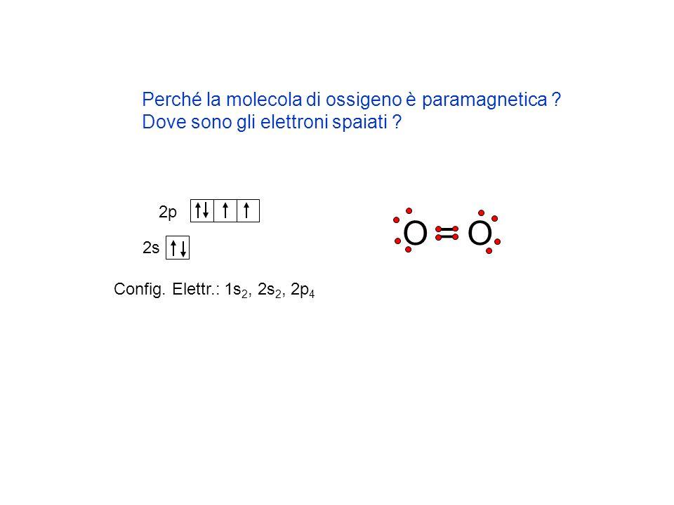 O = O Perché la molecola di ossigeno è paramagnetica