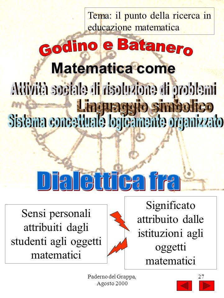 Godino e Batanero Matematica come Dialettica fra