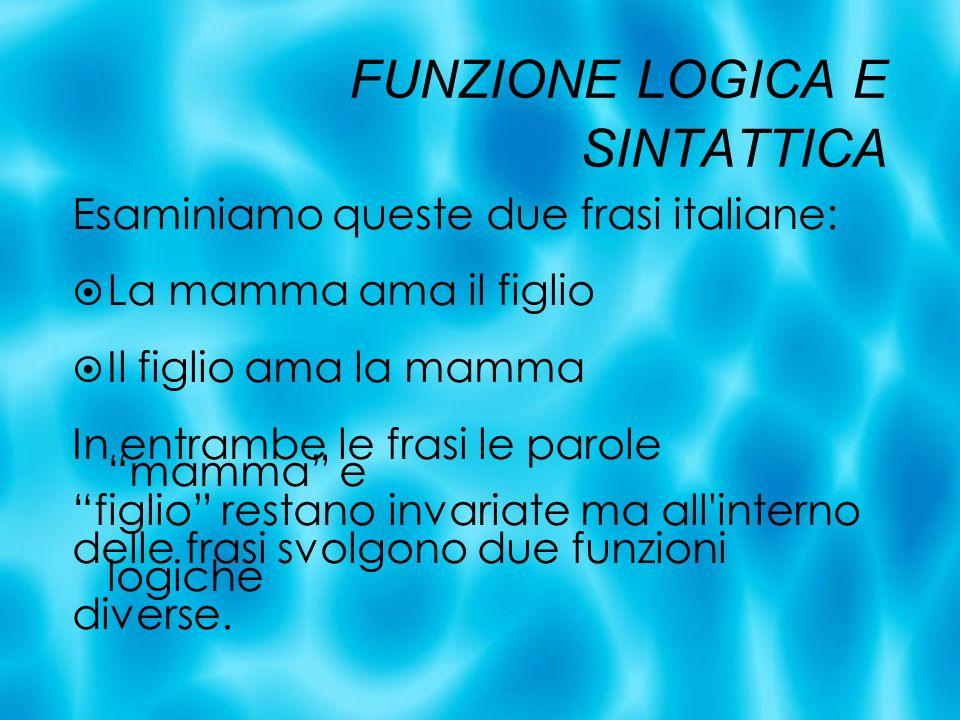 FUNZIONE LOGICA E SINTATTICA