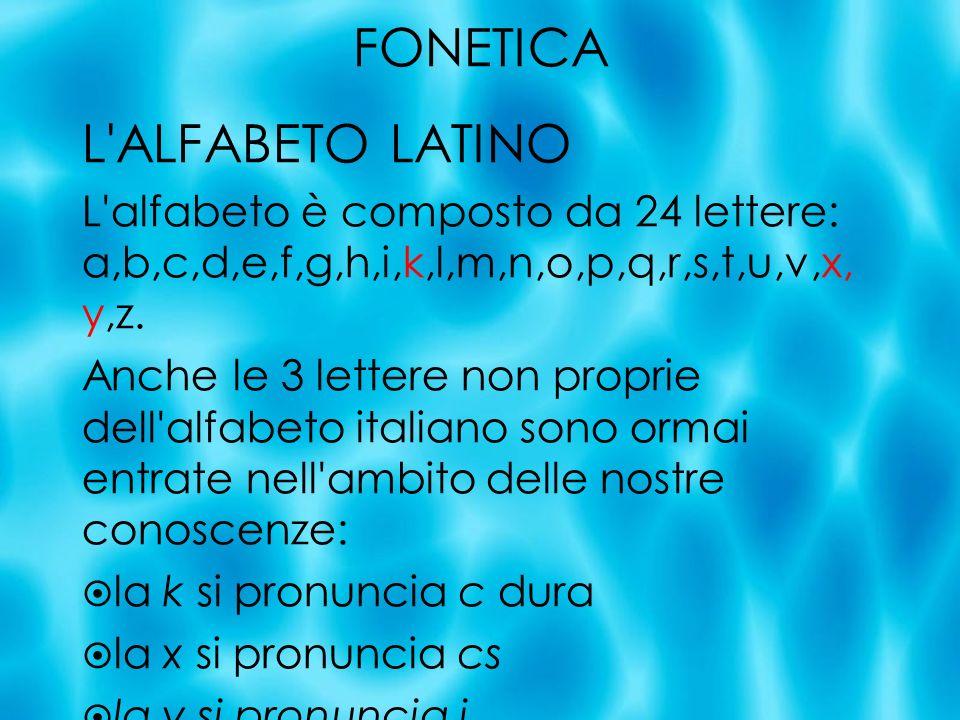 FONETICA L ALFABETO LATINO