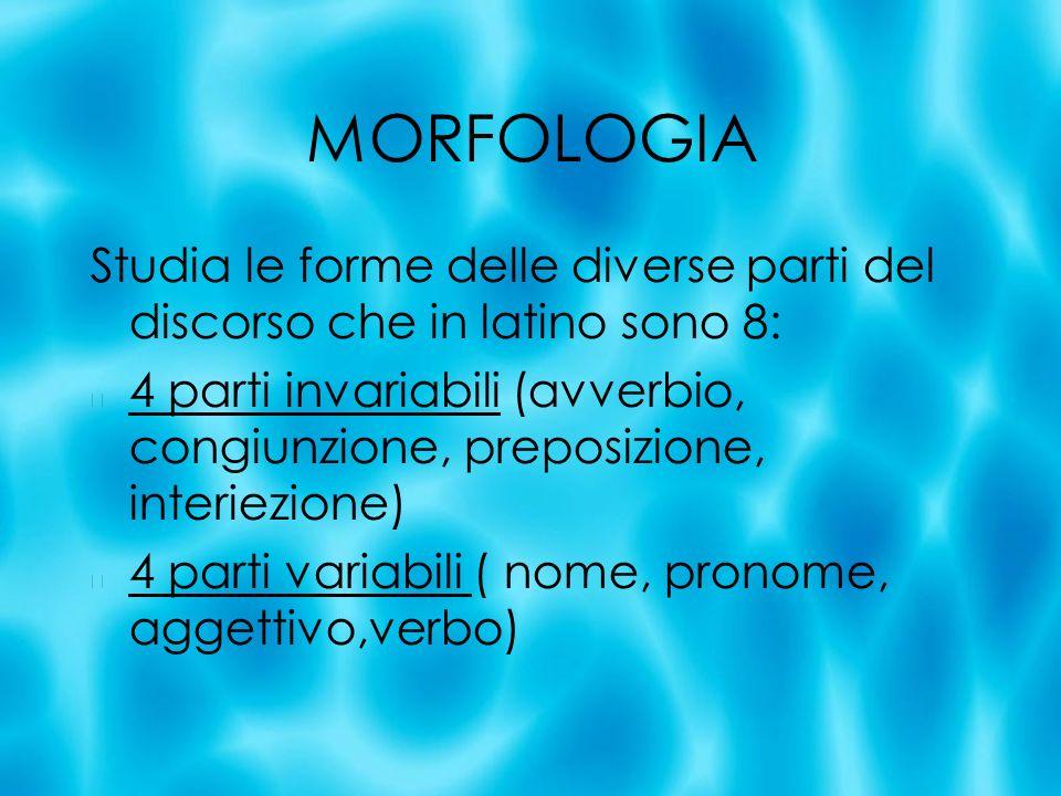 MORFOLOGIA Studia le forme delle diverse parti del discorso che in latino sono 8:
