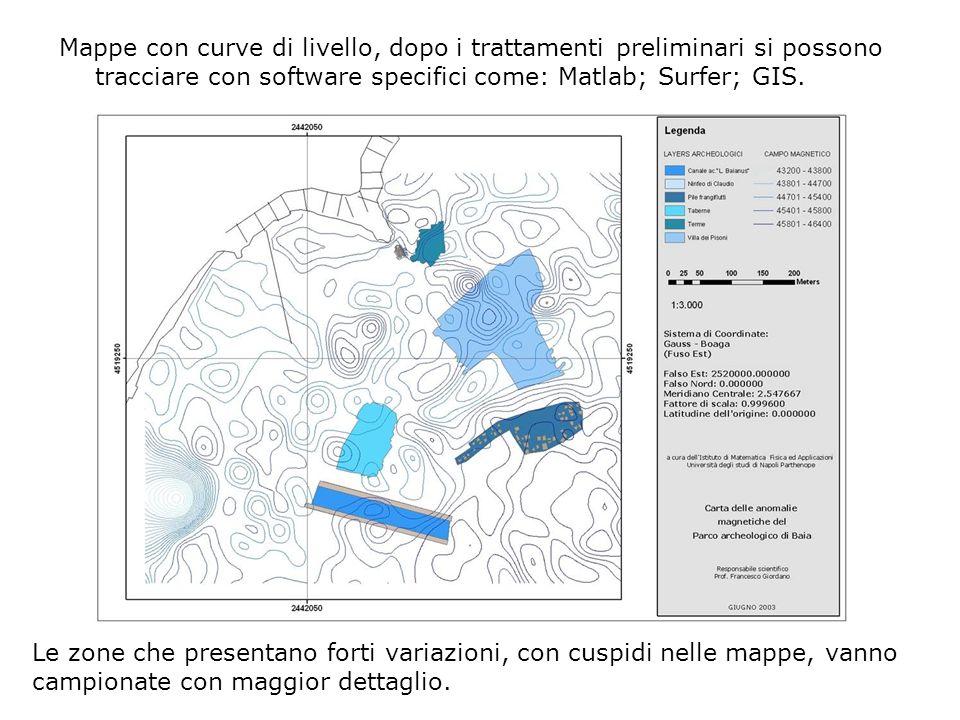 Mappe con curve di livello, dopo i trattamenti preliminari si possono tracciare con software specifici come: Matlab; Surfer; GIS.