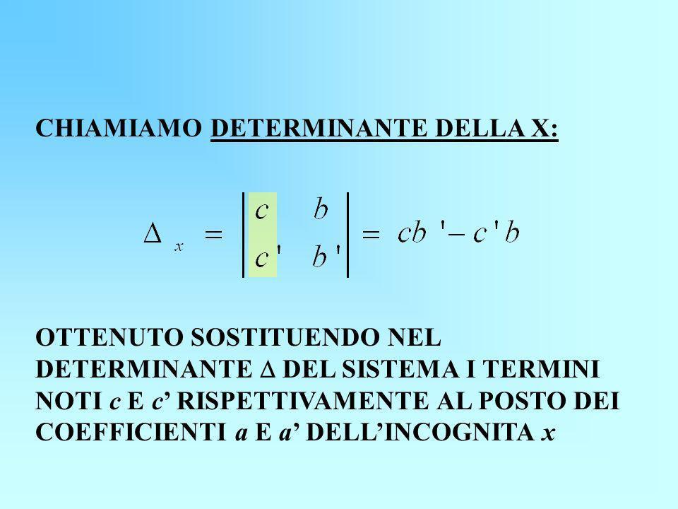 CHIAMIAMO DETERMINANTE DELLA X: