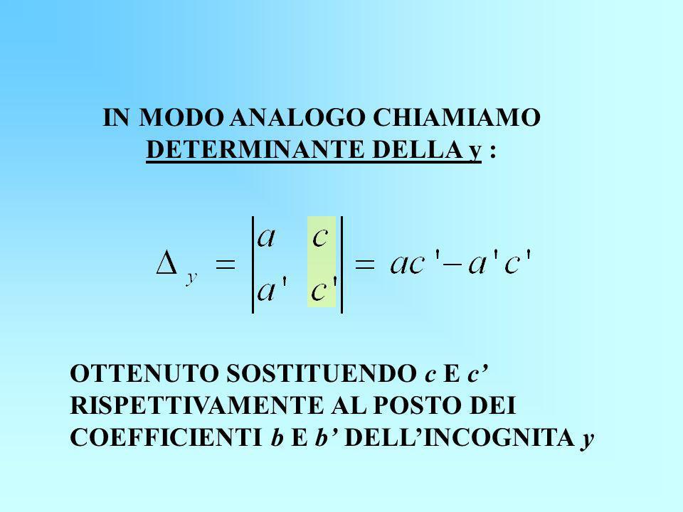 IN MODO ANALOGO CHIAMIAMO DETERMINANTE DELLA y :