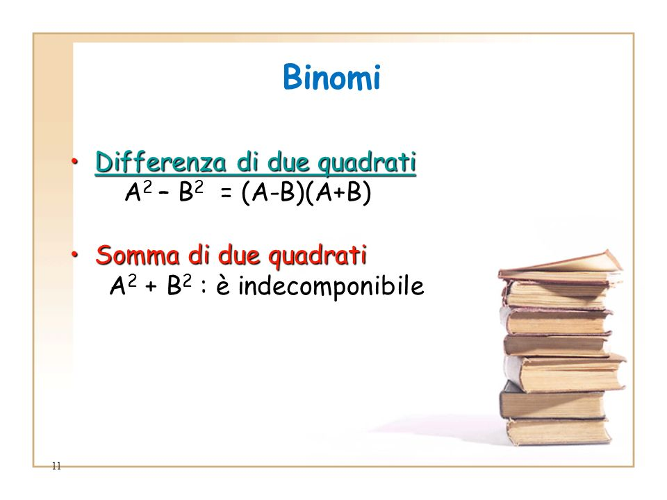 Binomi Differenza di due quadrati A2 – B2 = (A-B)(A+B)