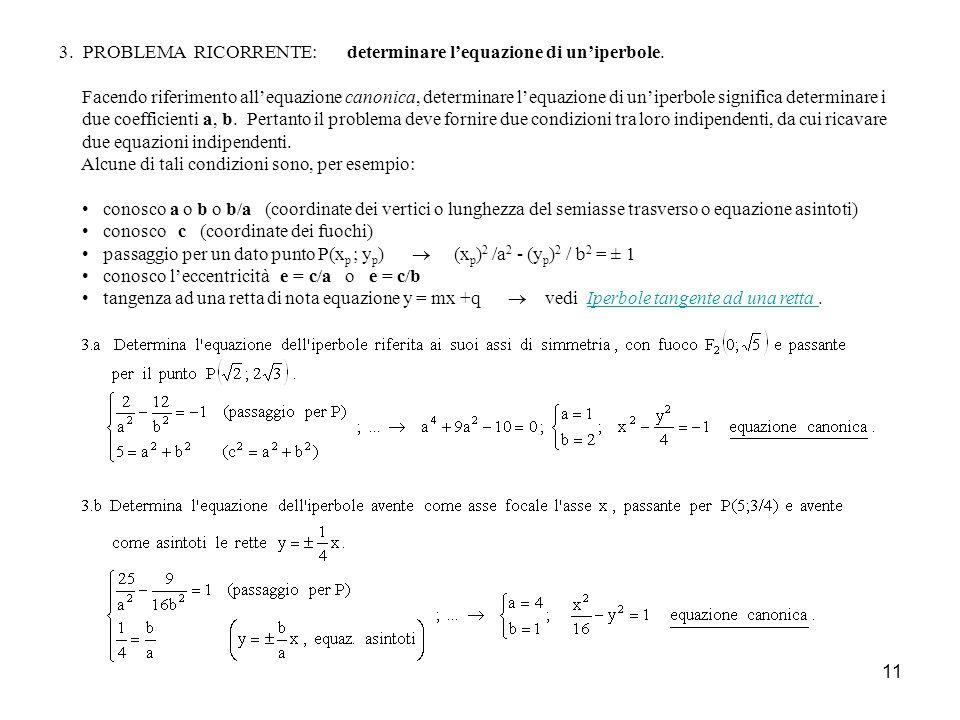 3. PROBLEMA RICORRENTE: determinare l'equazione di un'iperbole