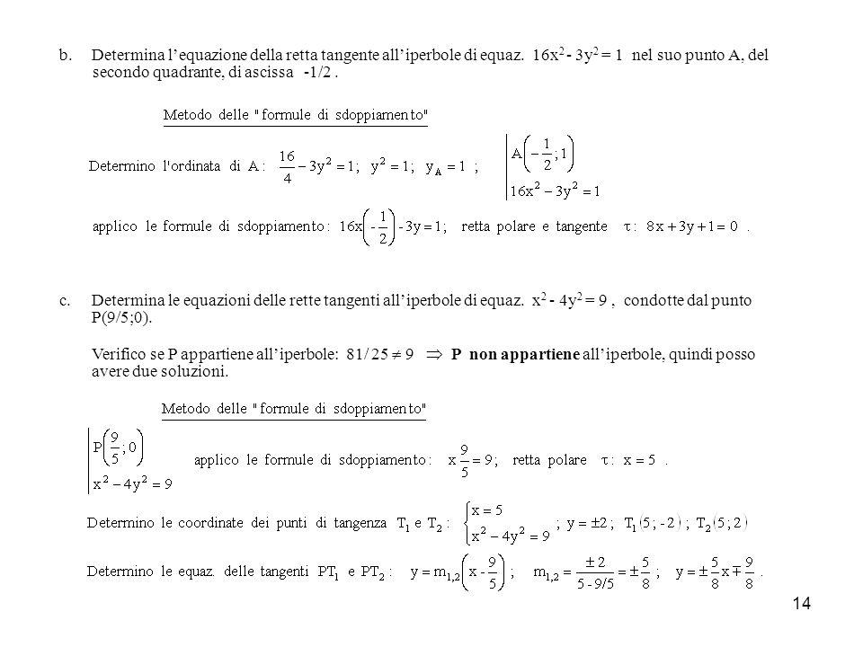Determina l'equazione della retta tangente all'iperbole di equaz