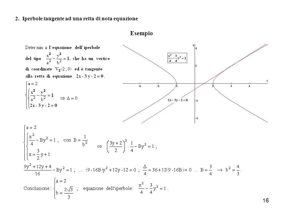 2. Iperbole tangente ad una retta di nota equazione