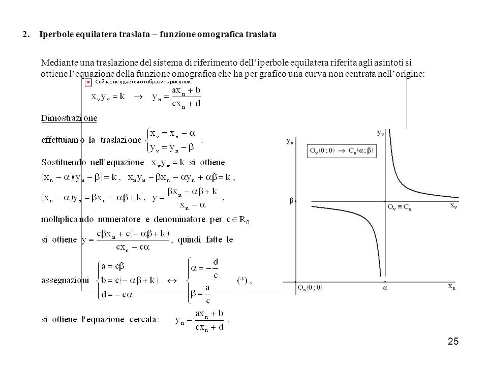 2. Iperbole equilatera traslata – funzione omografica traslata