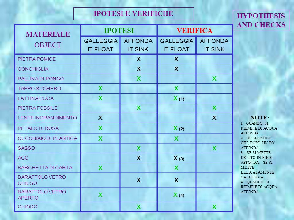 IPOTESI E VERIFICHE HYPOTHESIS AND CHECKS