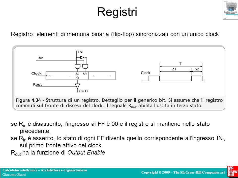 Registri Registro: elementi di memoria binaria (flip-flop) sincronizzati con un unico clock.