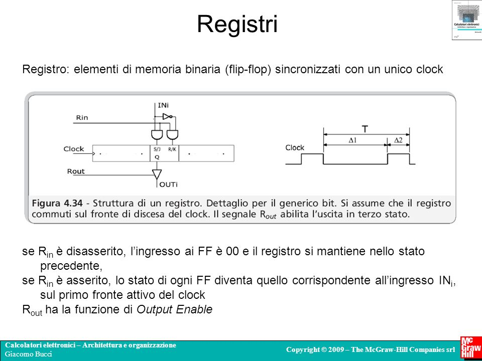 RegistriRegistro: elementi di memoria binaria (flip-flop) sincronizzati con un unico clock.