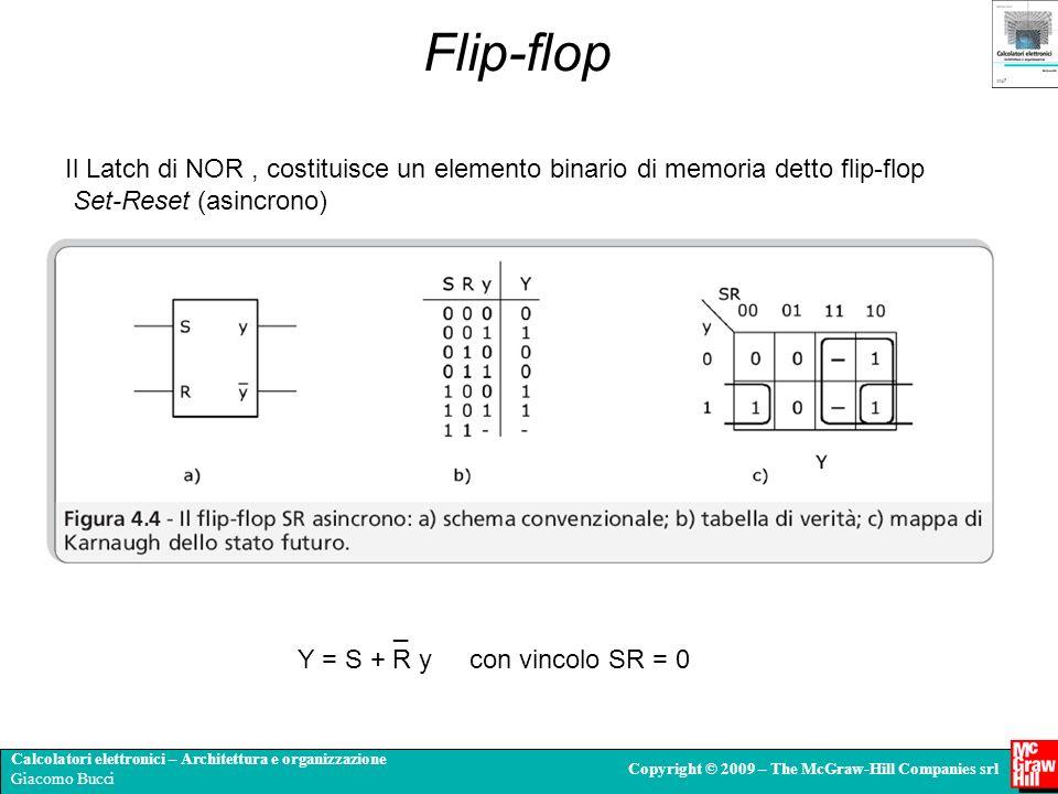Flip-flop Il Latch di NOR , costituisce un elemento binario di memoria detto flip-flop. Set-Reset (asincrono)