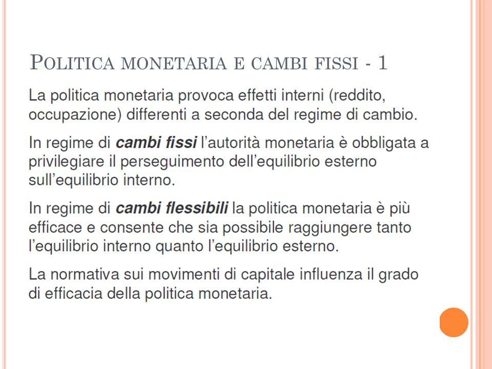 Politica monetaria e cambi fissi - 1