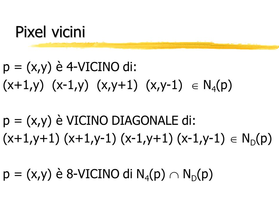 Pixel vicini p = (x,y) è 4-VICINO di: