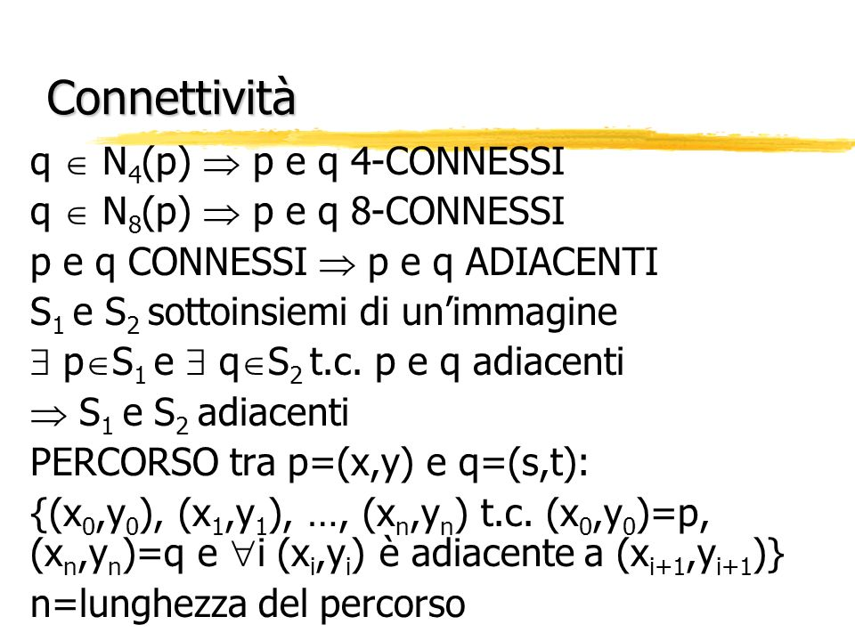 Connettività q  N4(p)  p e q 4-CONNESSI q  N8(p)  p e q 8-CONNESSI