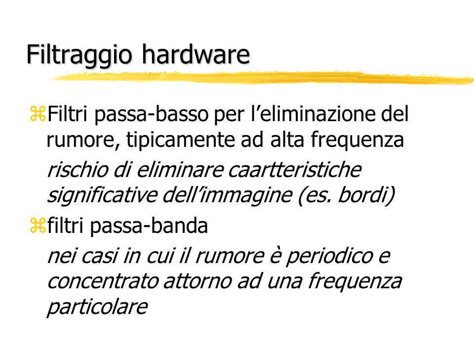Filtraggio hardware Filtri passa-basso per l'eliminazione del rumore, tipicamente ad alta frequenza.