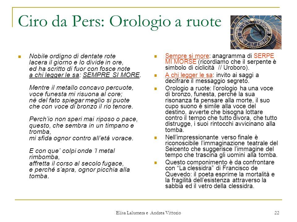 Ciro da Pers: Orologio a ruote