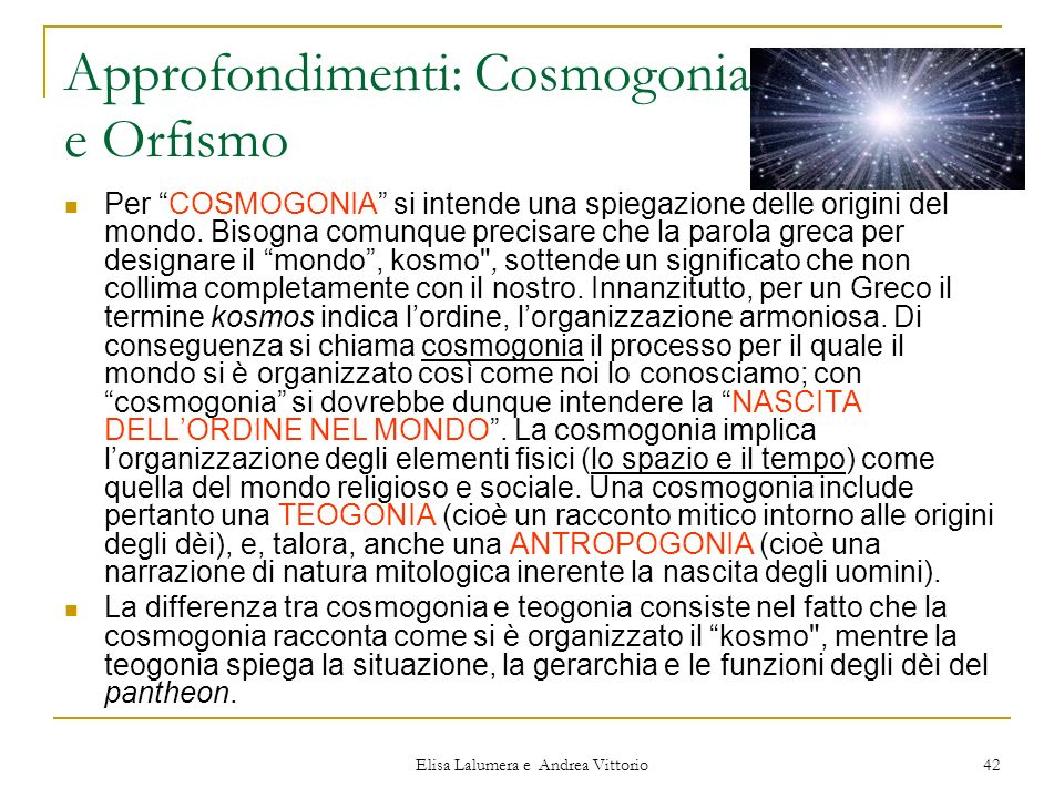Approfondimenti: Cosmogonia e Orfismo