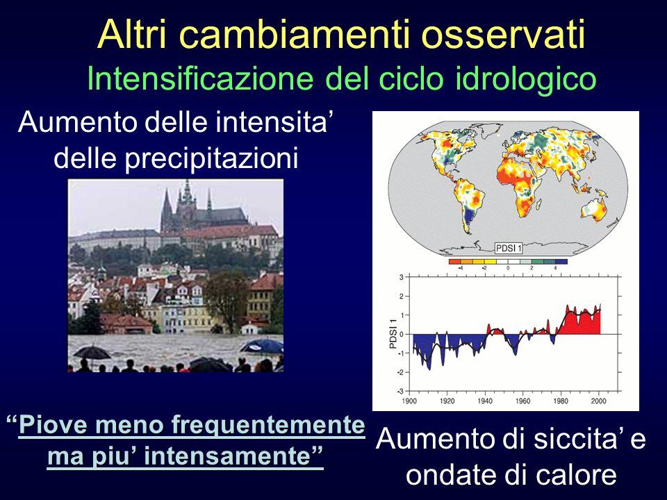 Altri cambiamenti osservati Intensificazione del ciclo idrologico