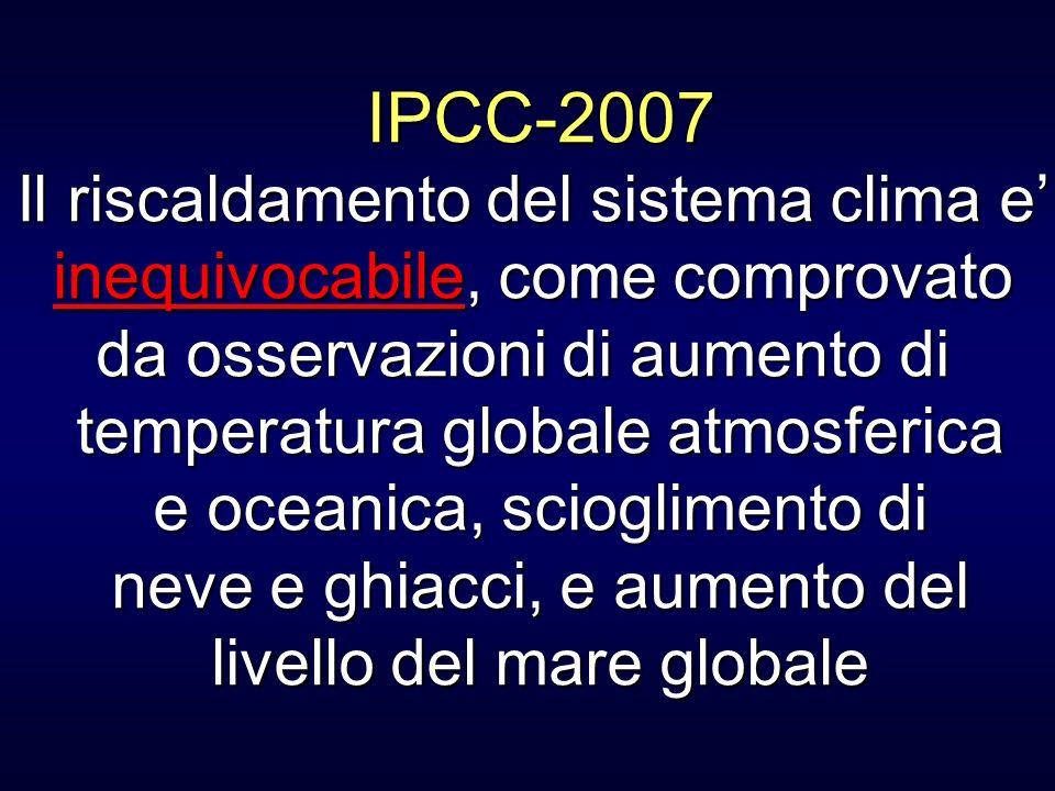 IPCC-2007 Il riscaldamento del sistema clima e'