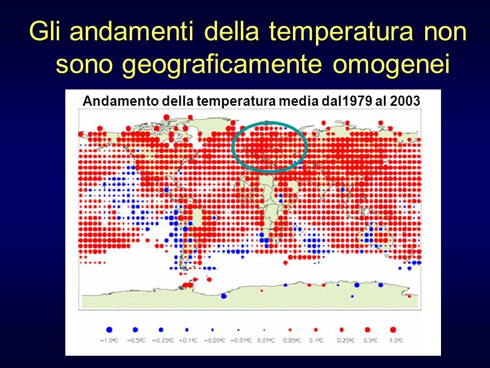 Gli andamenti della temperatura non sono geograficamente omogenei