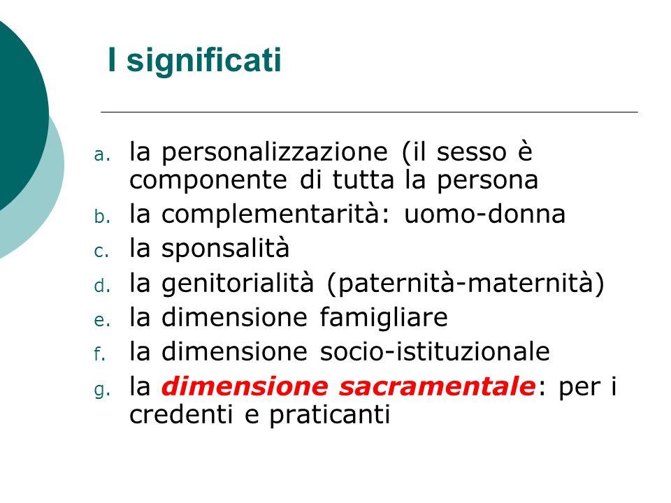 I significati la personalizzazione (il sesso è componente di tutta la persona. la complementarità: uomo-donna.