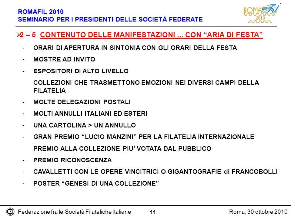 2 – 5 CONTENUTO DELLE MANIFESTAZIONI ... CON ARIA DI FESTA