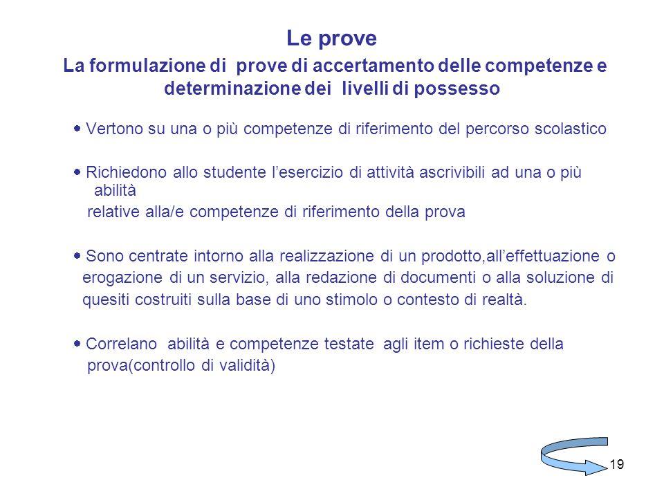 Le prove La formulazione di prove di accertamento delle competenze e determinazione dei livelli di possesso