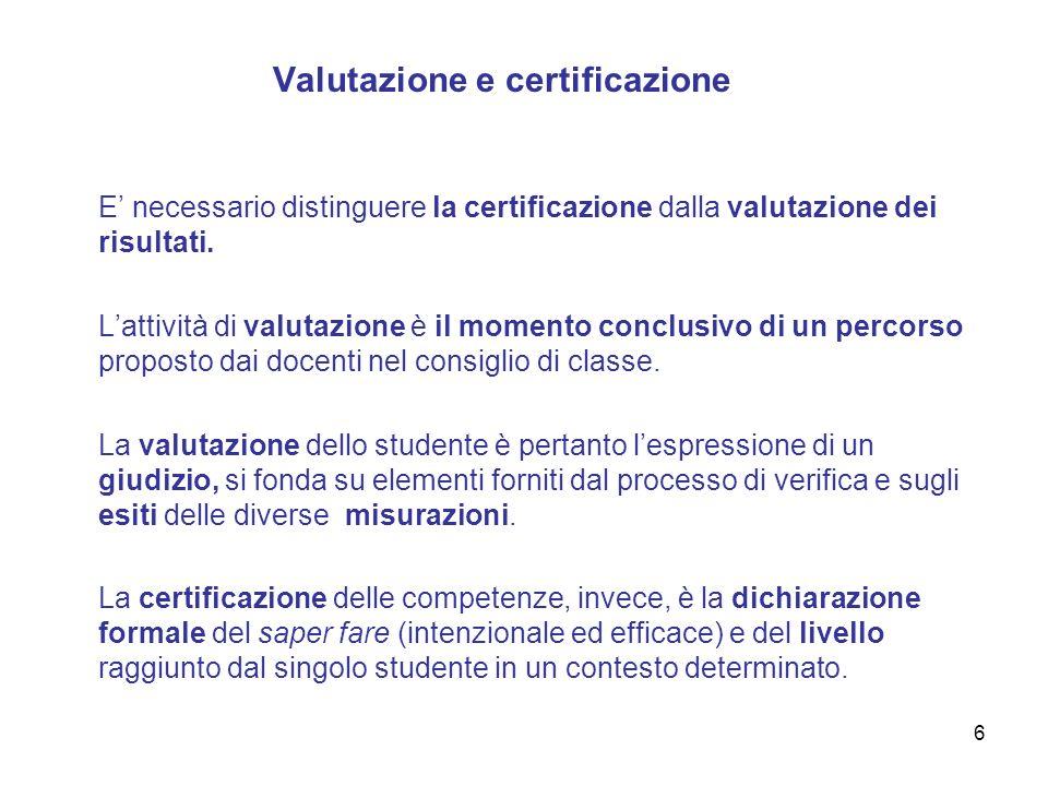 Valutazione e certificazione