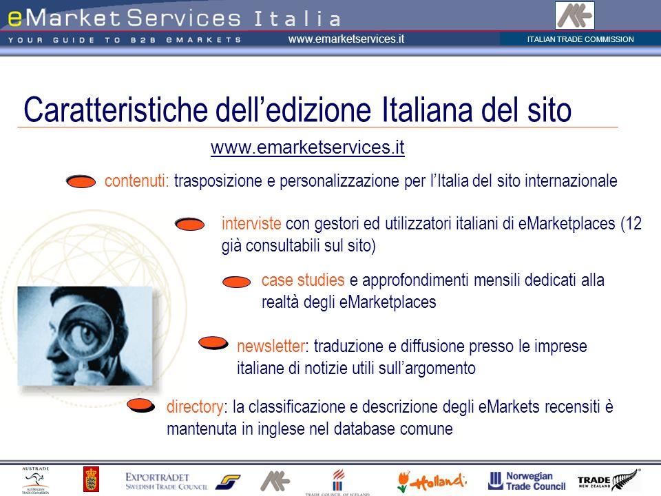 Caratteristiche dell'edizione Italiana del sito