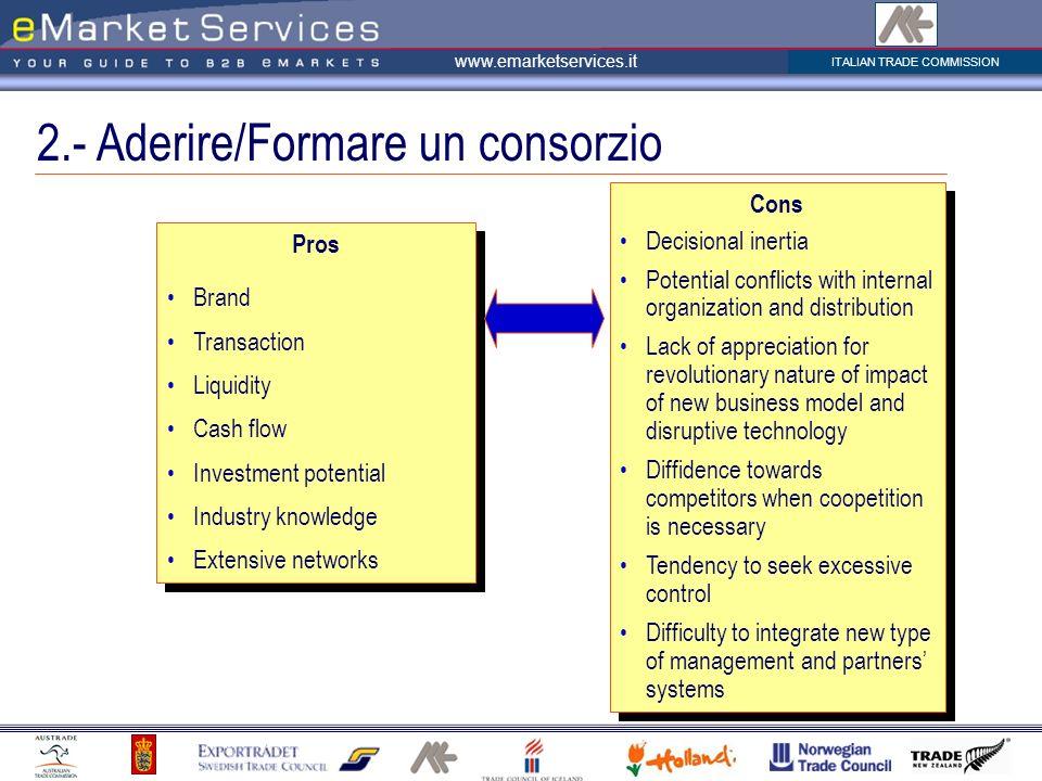 2.- Aderire/Formare un consorzio