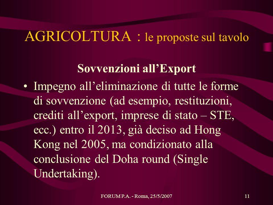 AGRICOLTURA : le proposte sul tavolo
