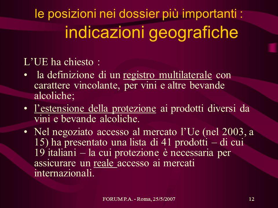 le posizioni nei dossier più importanti : indicazioni geografiche