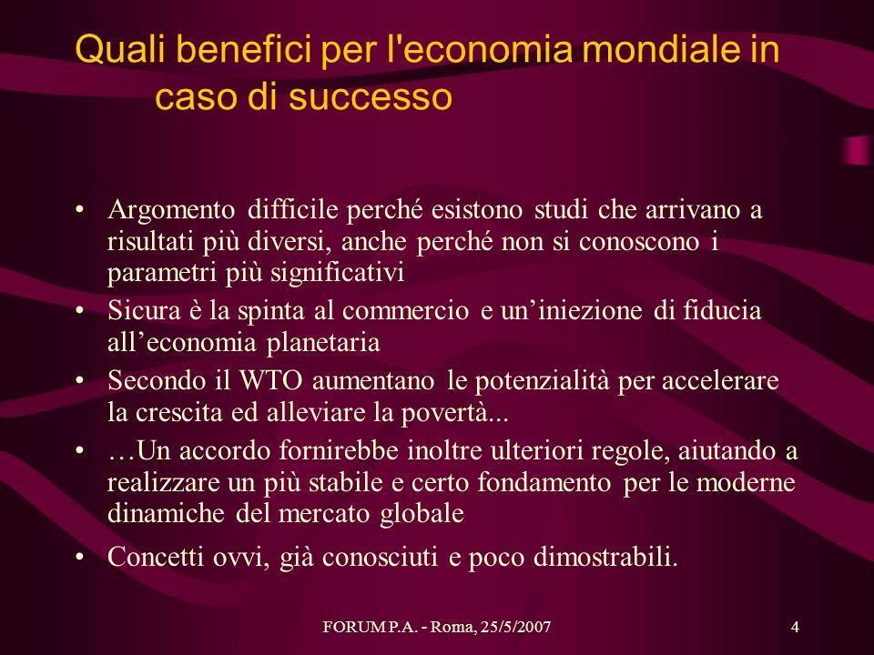 Quali benefici per l economia mondiale in caso di successo