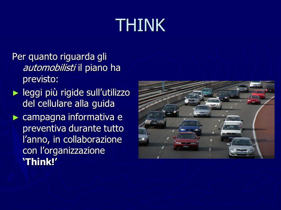THINK Per quanto riguarda gli automobilisti il piano ha previsto: