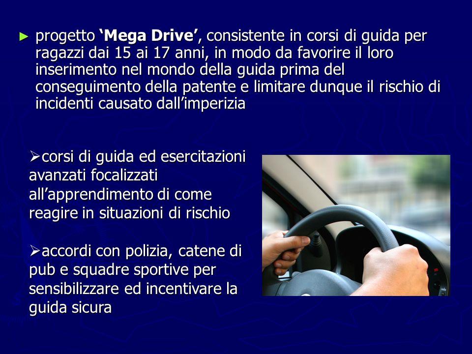 progetto 'Mega Drive', consistente in corsi di guida per ragazzi dai 15 ai 17 anni, in modo da favorire il loro inserimento nel mondo della guida prima del conseguimento della patente e limitare dunque il rischio di incidenti causato dall'imperizia