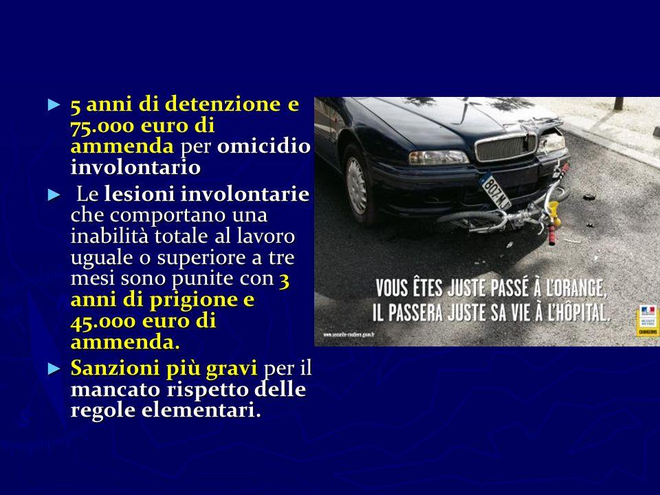 5 anni di detenzione e 75.000 euro di ammenda per omicidio involontario