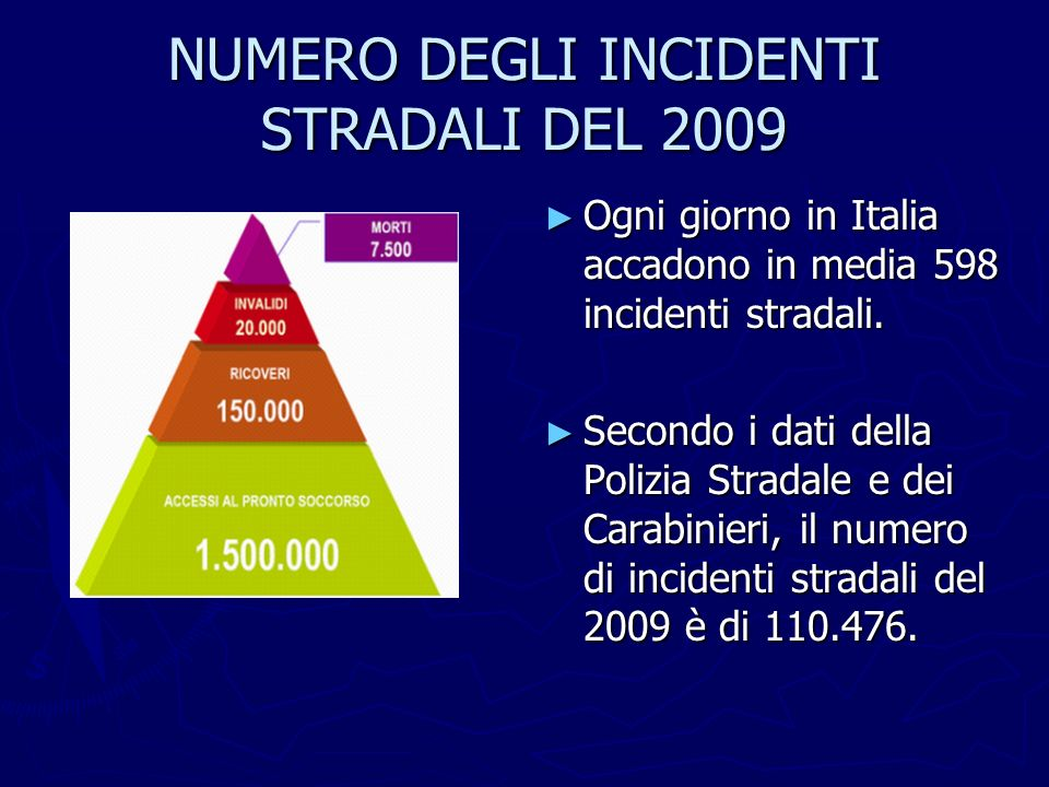 NUMERO DEGLI INCIDENTI STRADALI DEL 2009