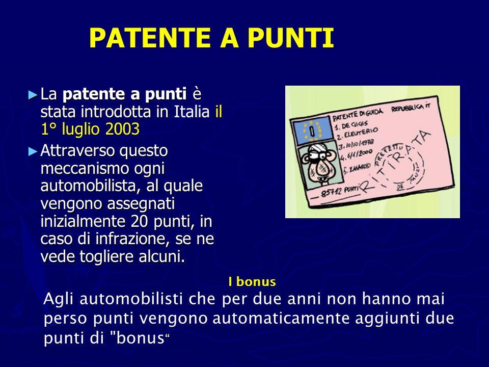 PATENTE A PUNTI La patente a punti è stata introdotta in Italia il 1° luglio 2003.