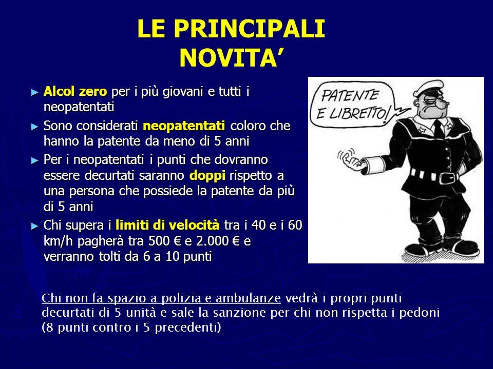 LE PRINCIPALI NOVITA' Alcol zero per i più giovani e tutti i neopatentati.