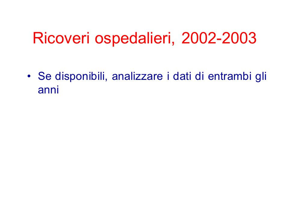 Ricoveri ospedalieri, 2002-2003