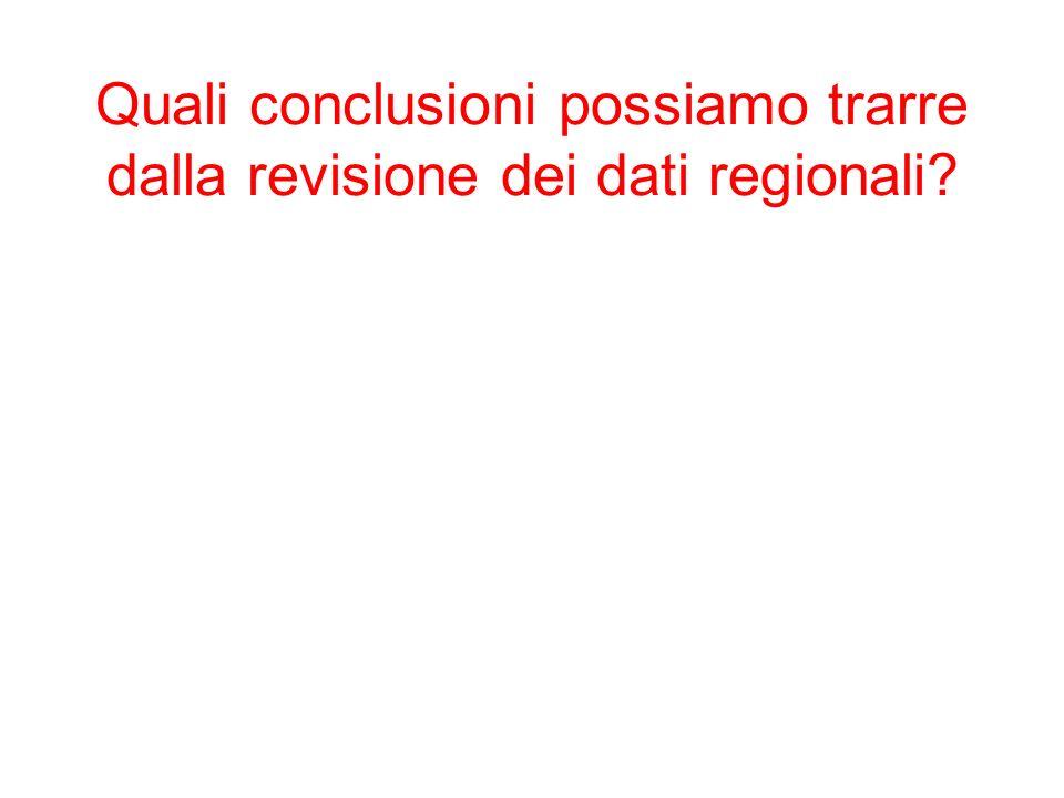 Quali conclusioni possiamo trarre dalla revisione dei dati regionali