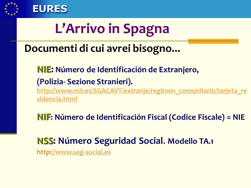 L'Arrivo in Spagna Documenti di cui avrei bisogno...