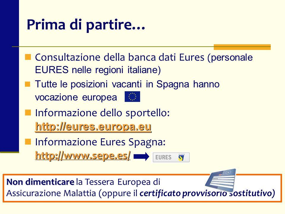 Prima di partire… Consultazione della banca dati Eures (personale EURES nelle regioni italiane)