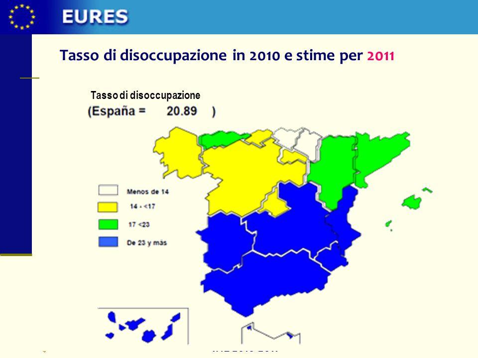 Tasso di disoccupazione in 2010 e stime per 2011